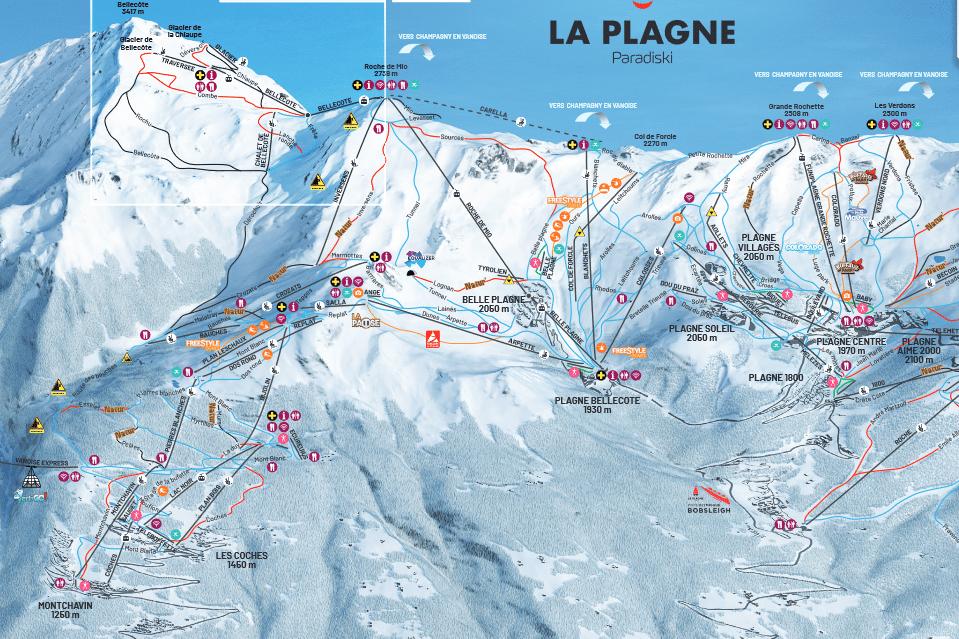 Montchavin - Plan des pistes de ski