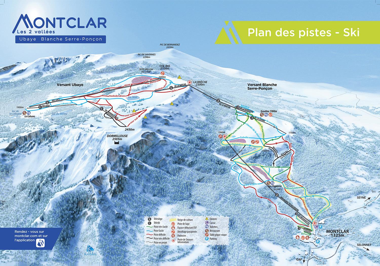 Montclar les 2 Vallées - Plan des pistes de ski