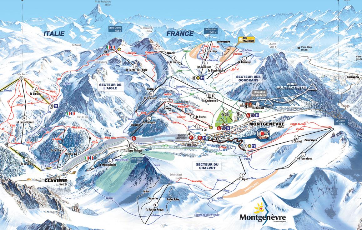 Montgenevre - Plan des pistes de ski