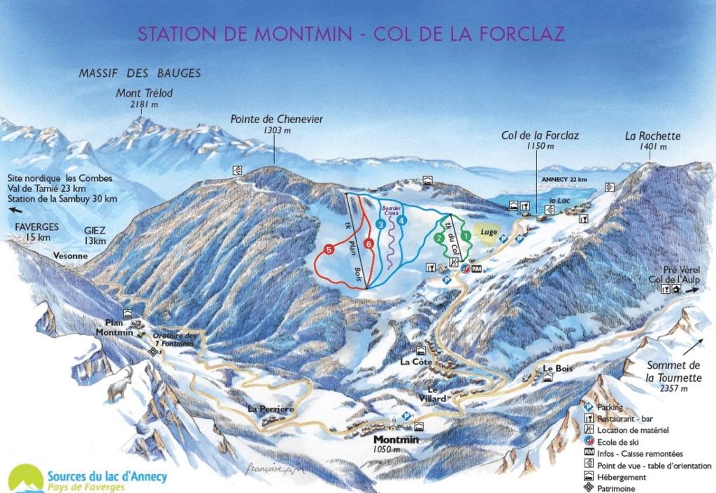 Montmin Forclaz - Plan des pistes de ski