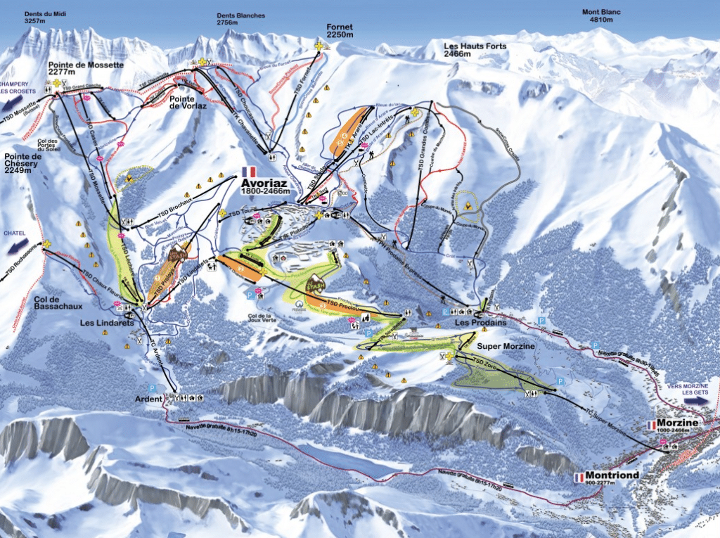 Montriond - Plan des pistes de ski