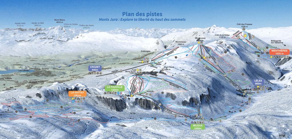 Monts Jura - Plan des pistes de ski