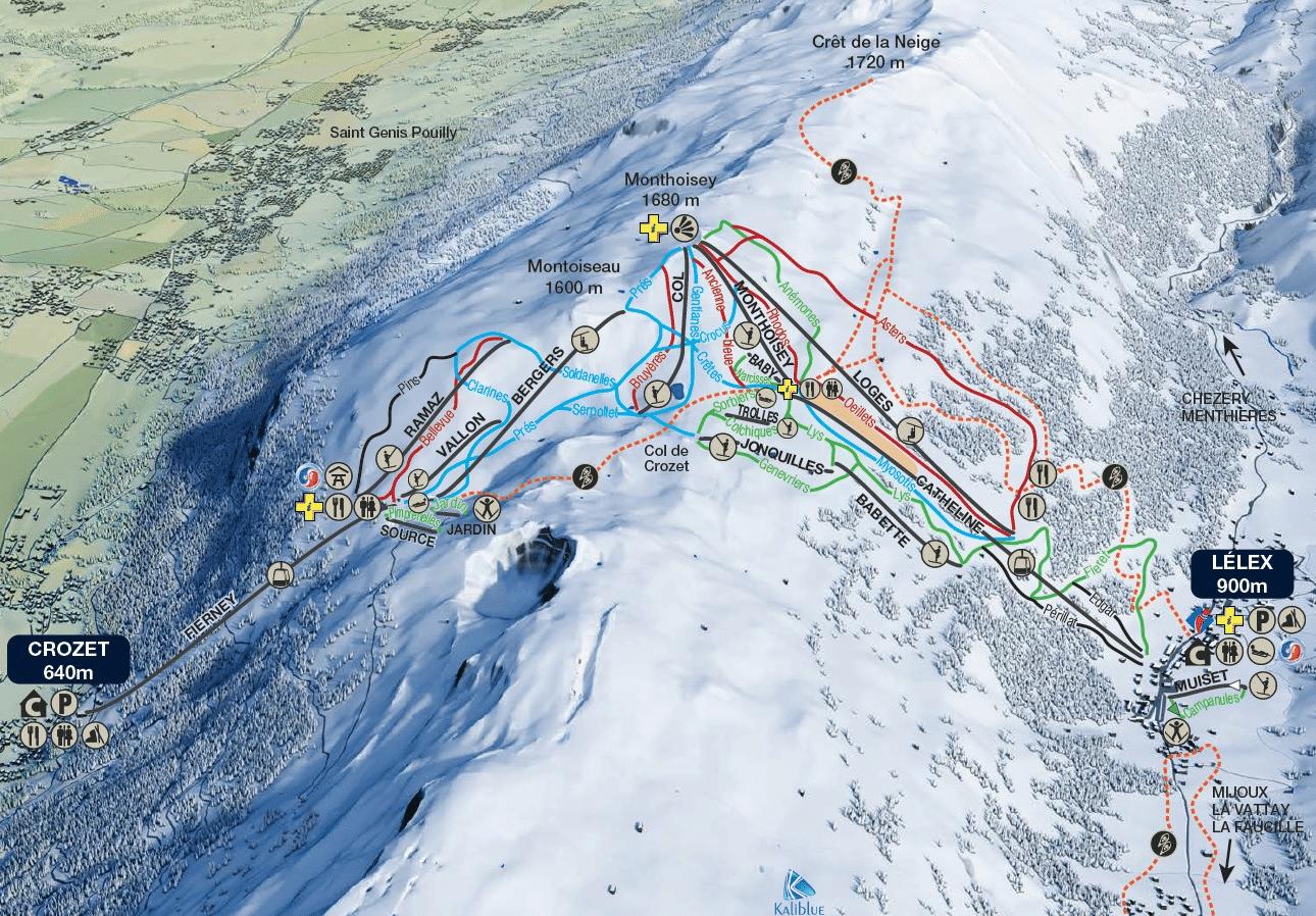 Monts Jura - Plan des pistes du Col de Crozet