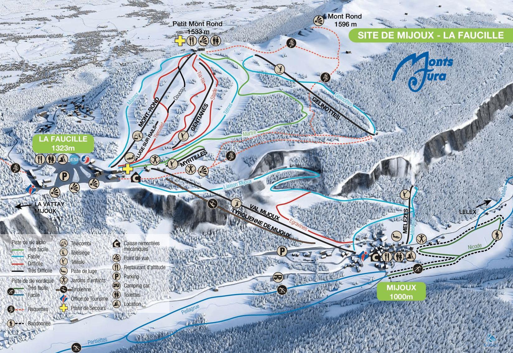 Monts Jura - Plan des pistes du Col de la Faucille - Mijoux
