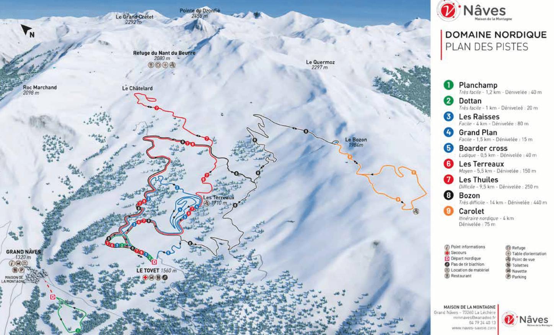 Naves - Valmorel - Plan du domaine nordique (ski de fond)