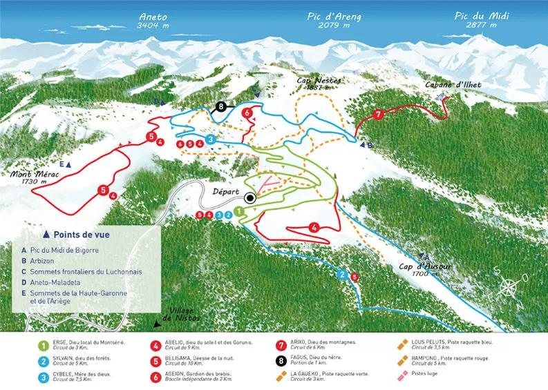 Nistos - Plan des pistes de ski