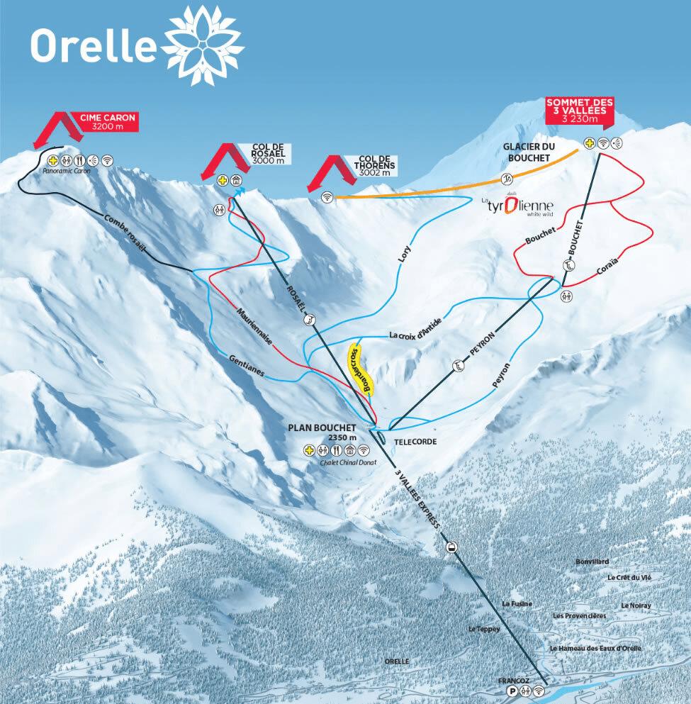 Orelle - Plan des pistes de ski