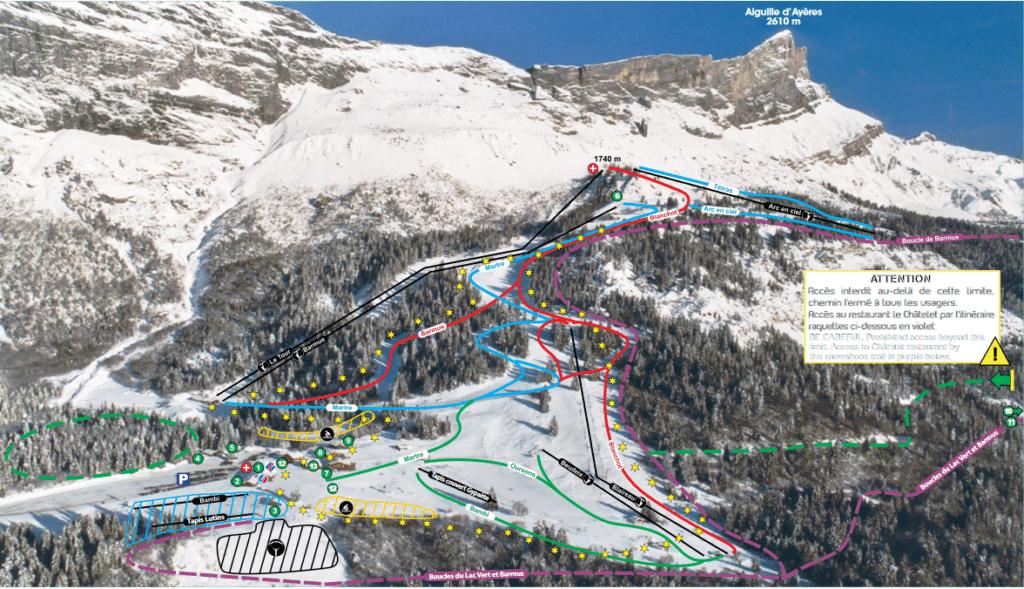 Passy Plaine Joux - Plan des pistes de ski