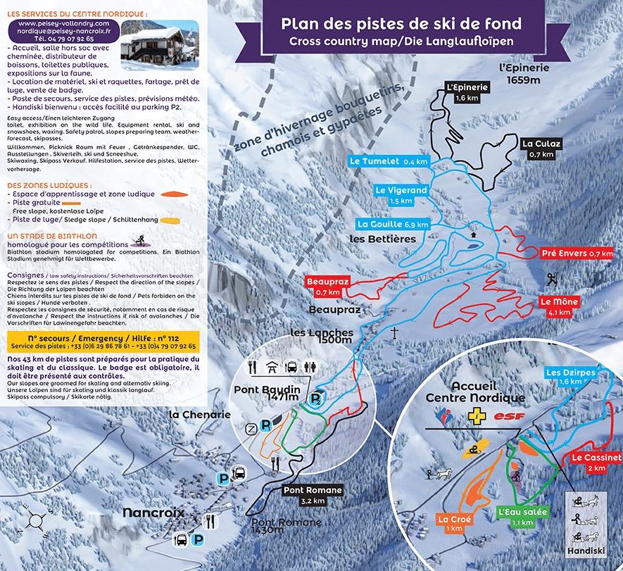 Peisey - Vallandy - Plan des pistes de ski de fond
