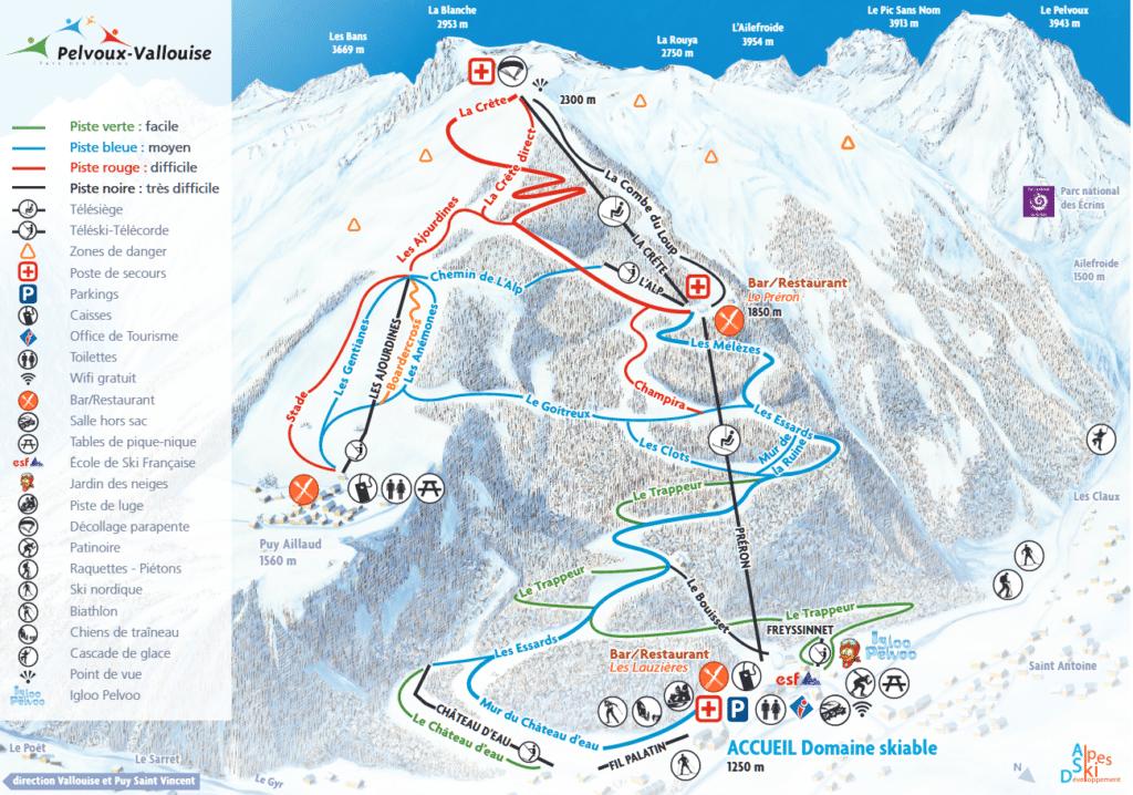 Pelvoux Vallouise - Plan des pistes de ski