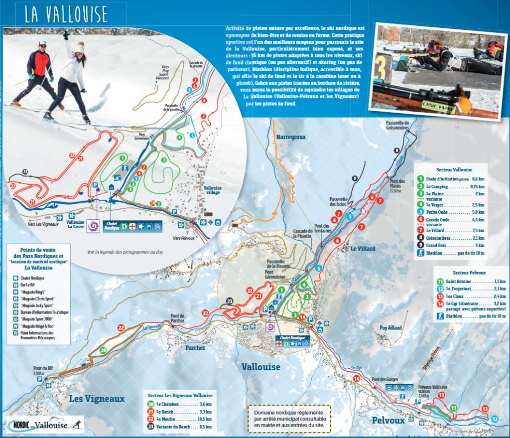 Pelvoux Vallouise - Plan du domaine nordique (ski de fond)