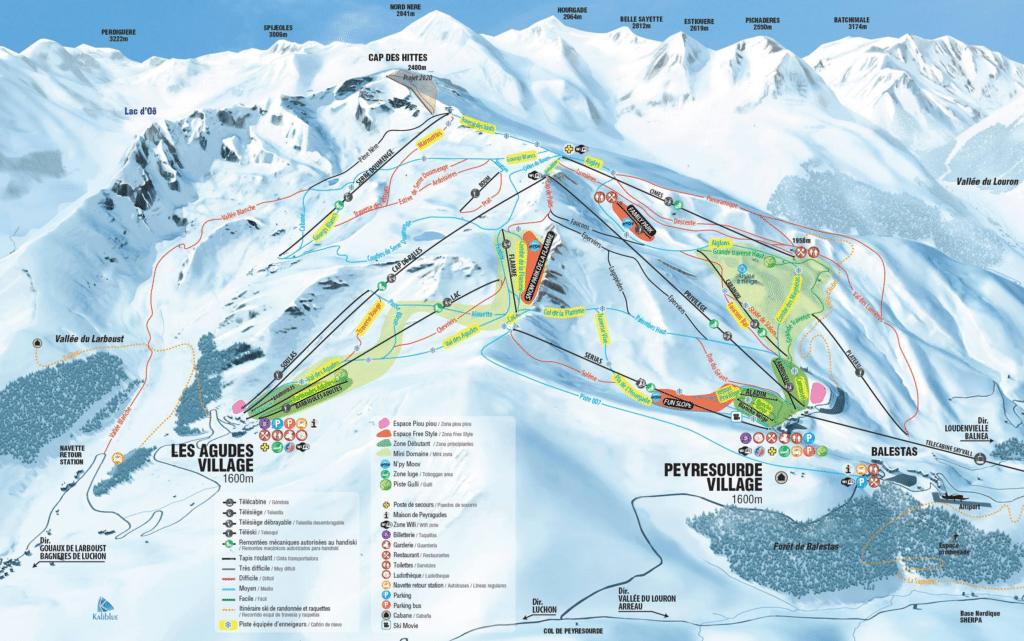 Peyresourde - Plan des pistes de ski