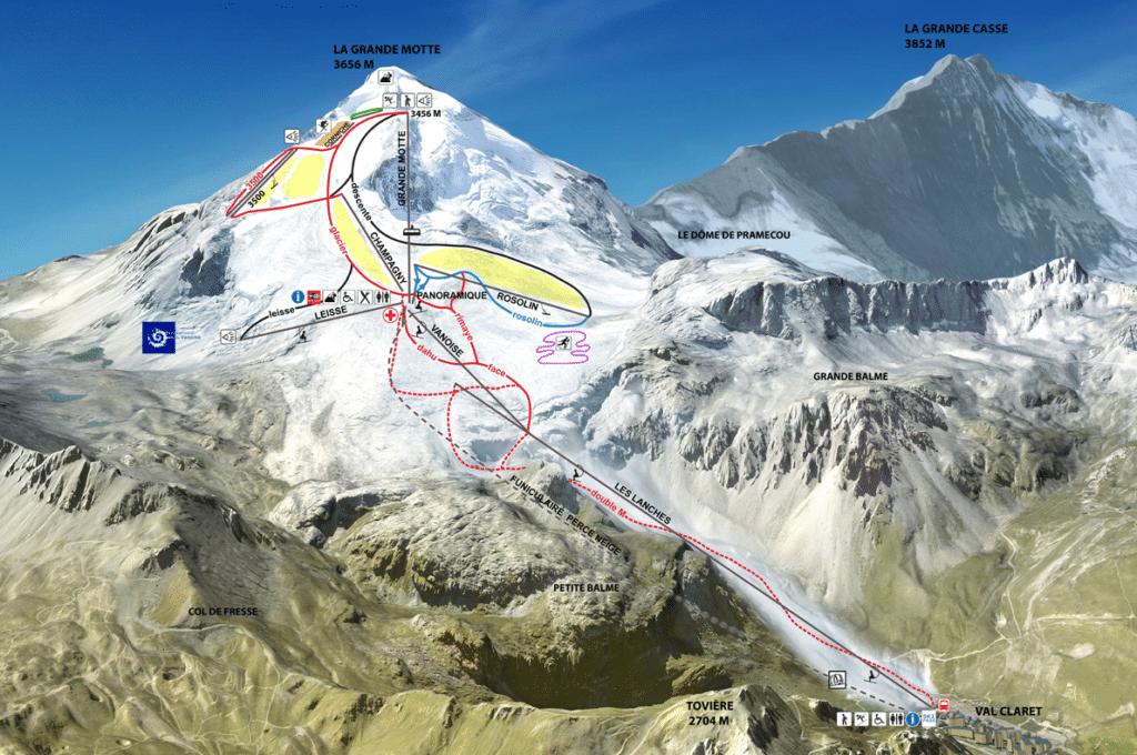 Plan des pistes de ski sur le glacier de Tignes