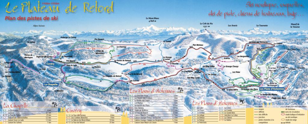 Plateau du retord - Plan des pistes de ski de fond