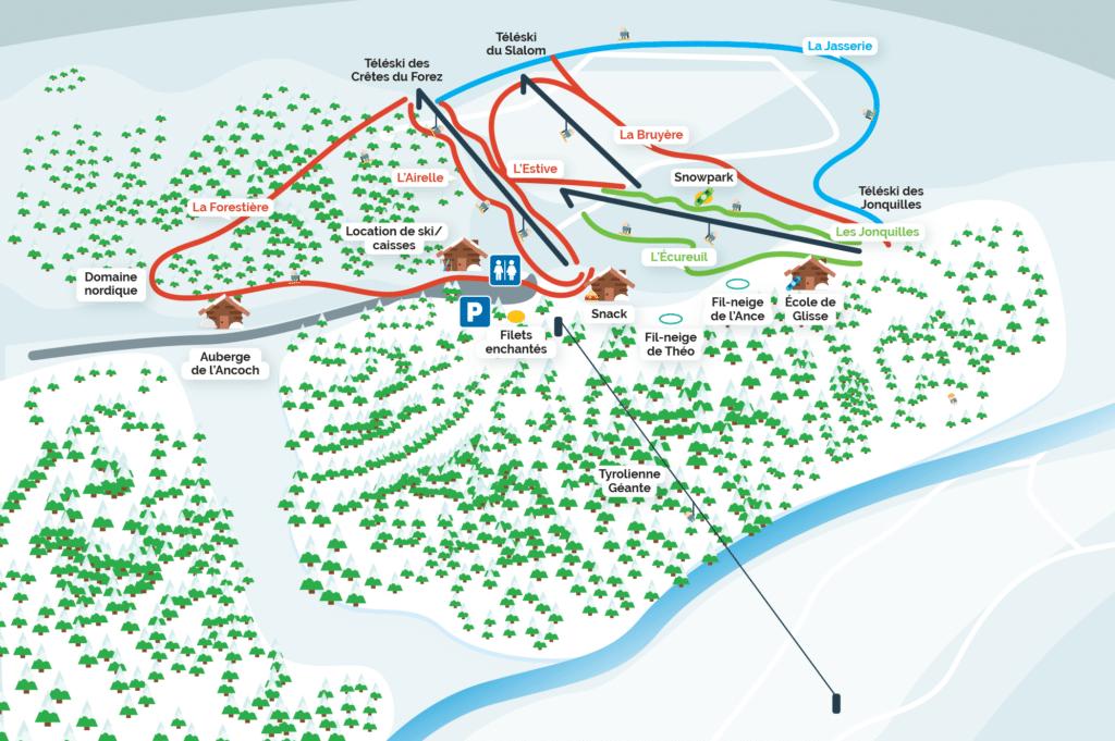Praboure - Plan des pistes de ski
