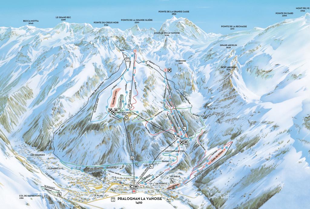 Pralognan La Vanoise - Plan des pistes de ski
