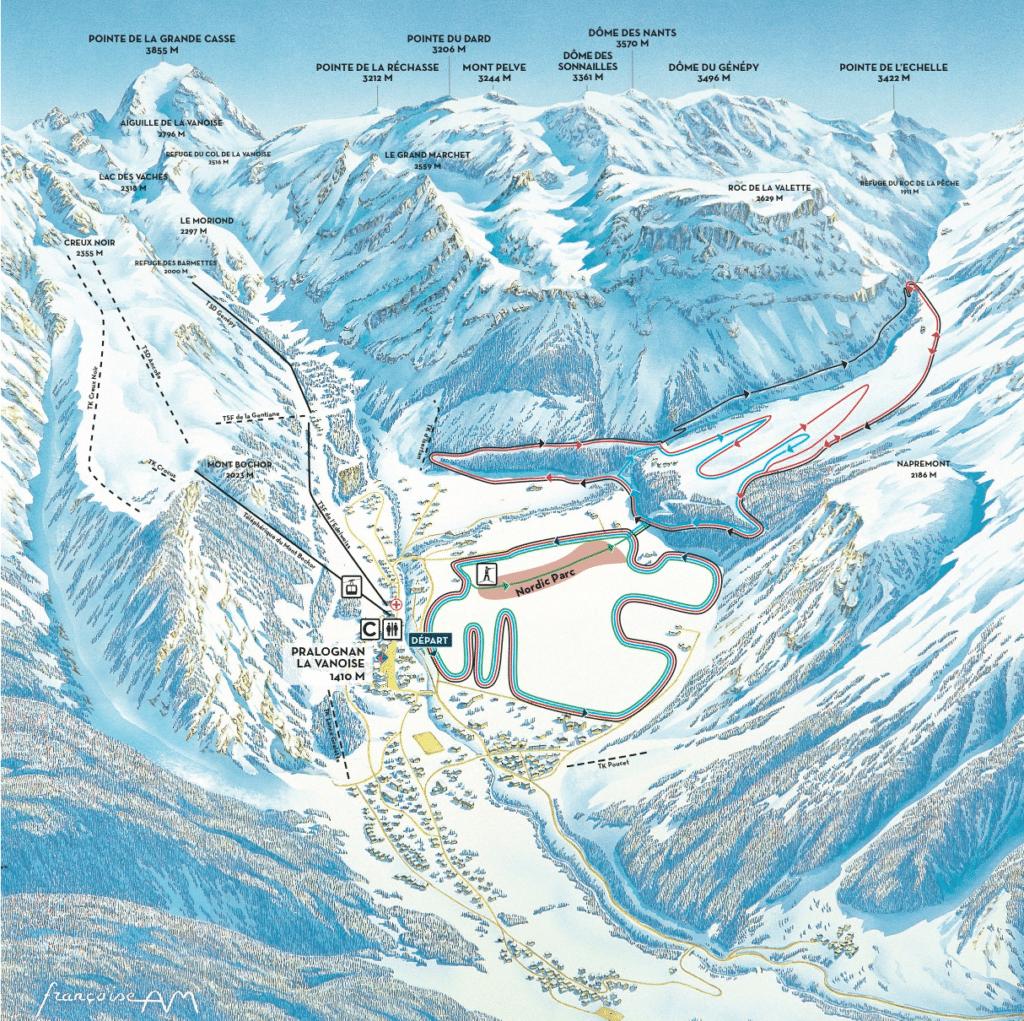 Pralognan La Vanoise - Plan du domaine nordique (ski de fond)