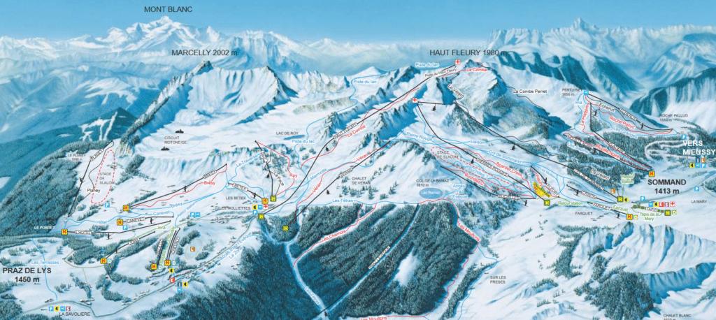 Praz de Lys - Sommand - Plan des pistes de ski