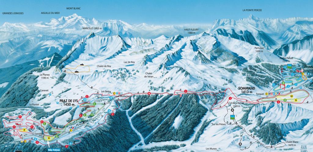Praz de Lys - Sommand - Plan du domaine nordique (ski de fond)