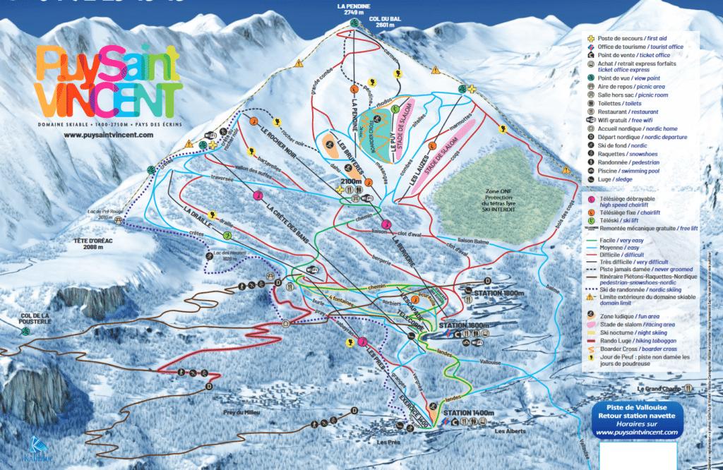 Puy Saint Vincent - Plan des pistes de ski