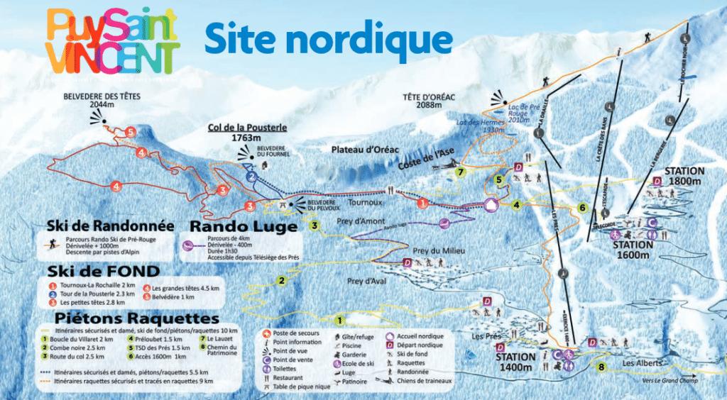 Puy saint Vincent - Plan du domaine nordique