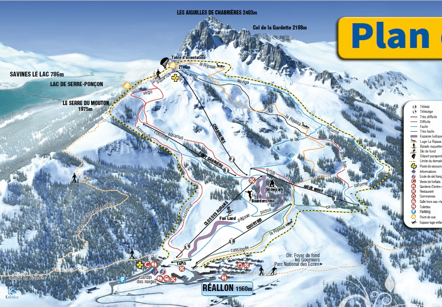 Reallon - Plan des pistes de ski