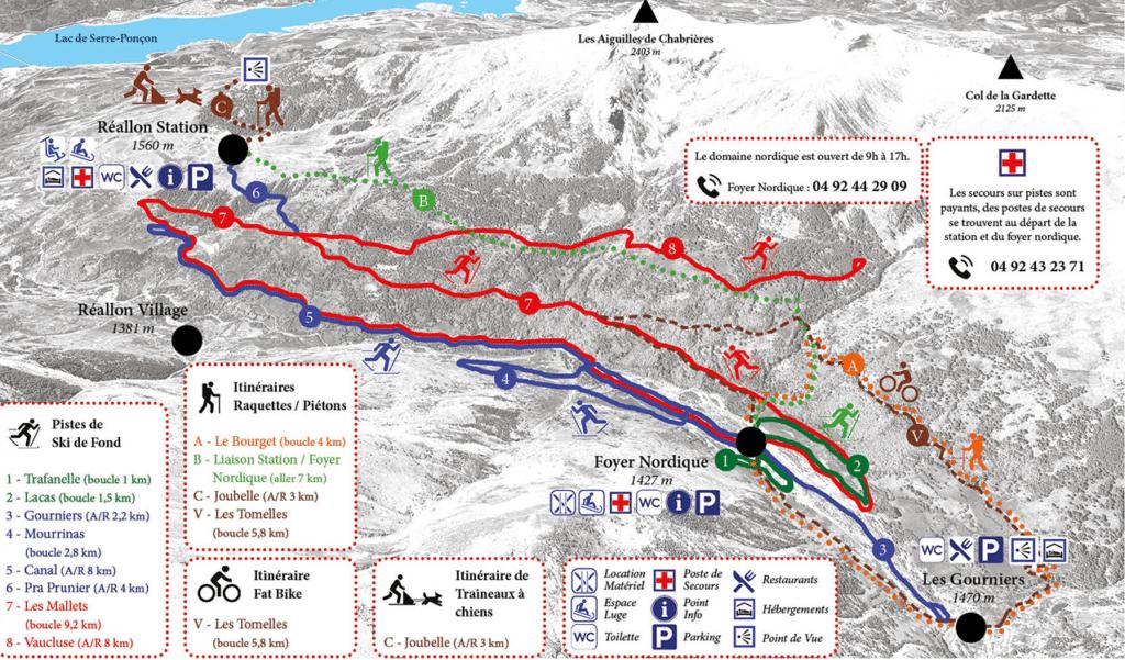 Reallon - Plan du domaine nordique (ski de fond)