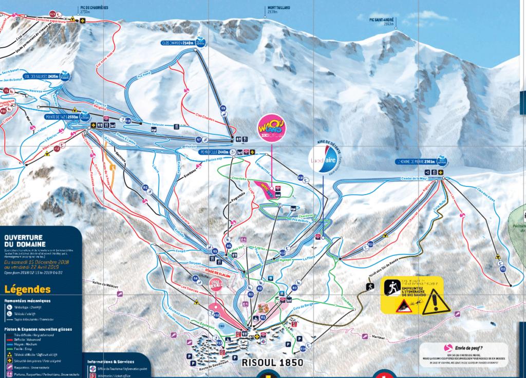 Risoul - Plan des pistes de ski