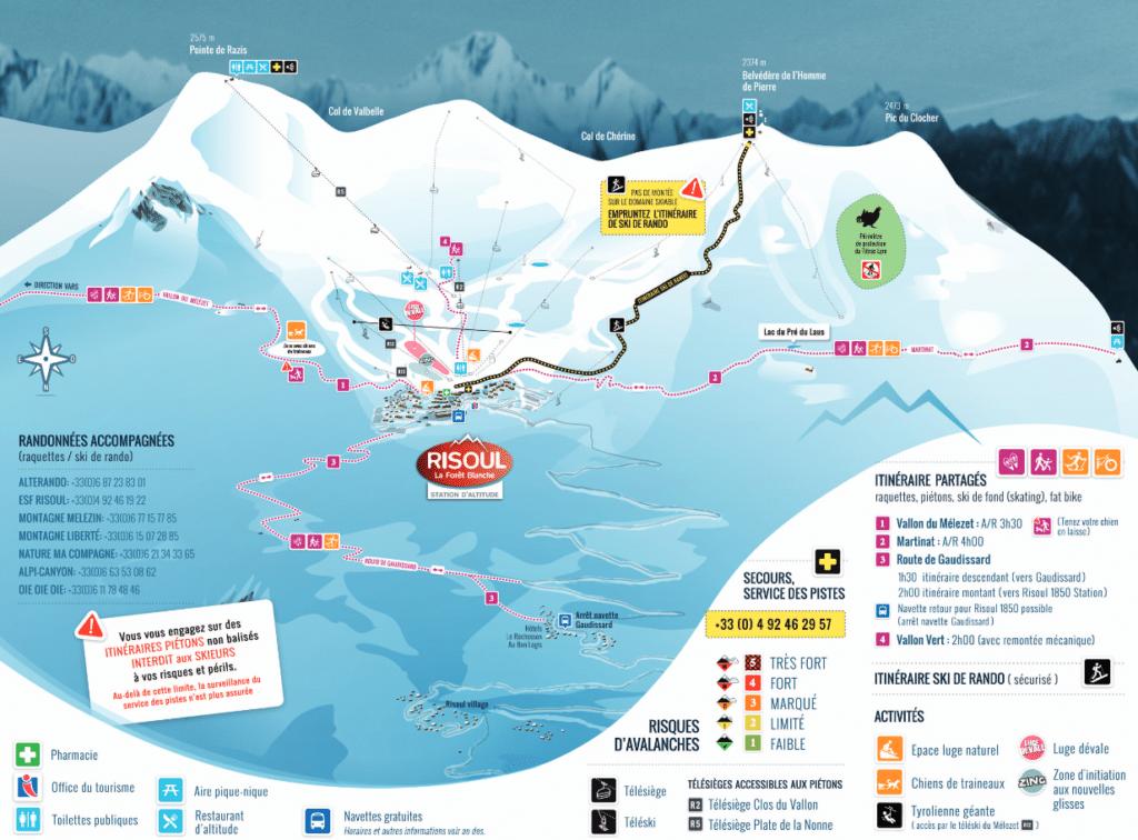 Risoul - Plan des pistes de ski de fond et raquettes