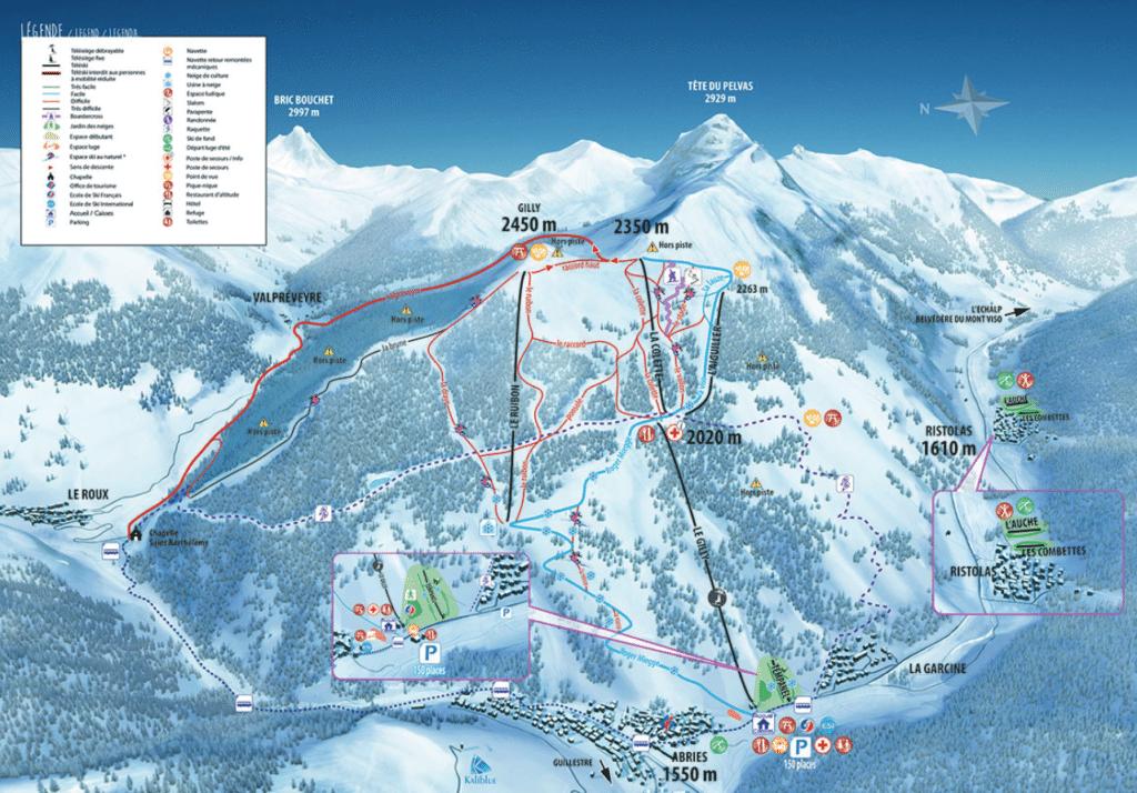 Ristolas en Queyras - Plan des pistes de ski