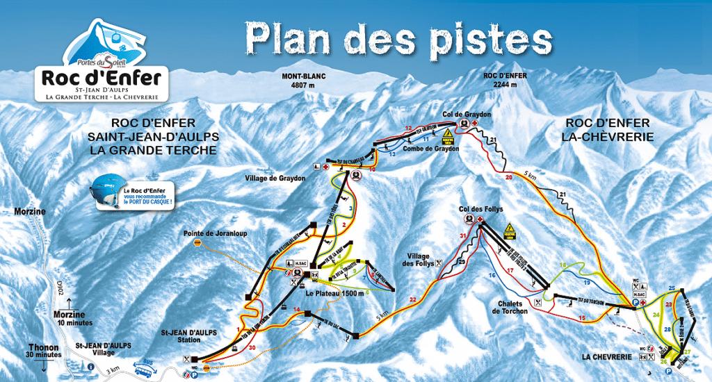 Roc d'enfer - Plan des pistes de ski