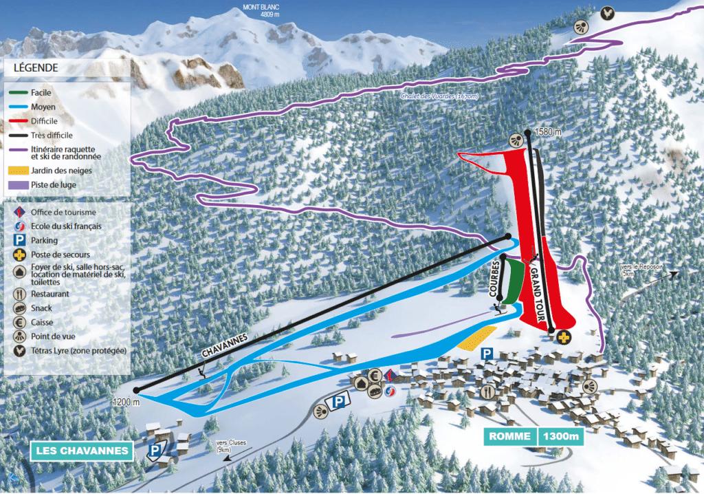 Romme - Plan des pistes de ski