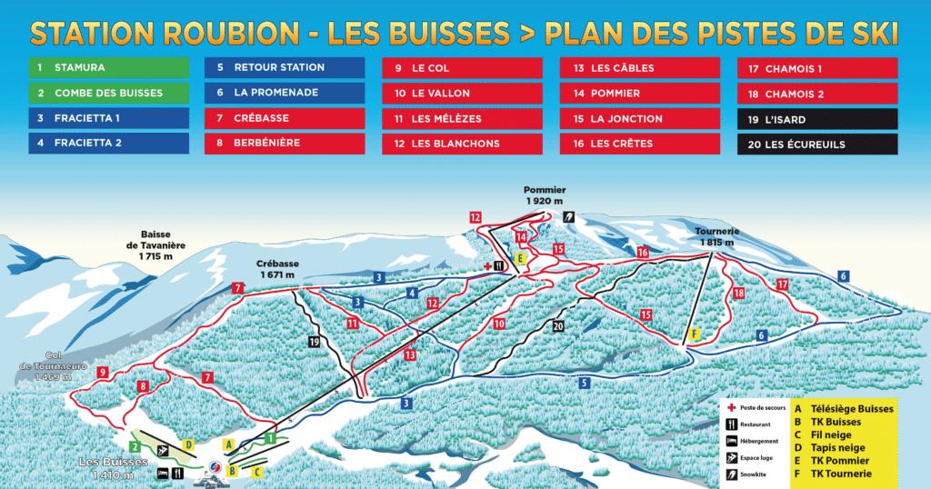 Roubion - Les Buisses - Plan des pistes de ski