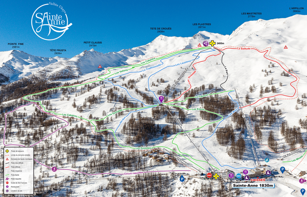 Saint Anne la Condamine - Plan des pistes de ski