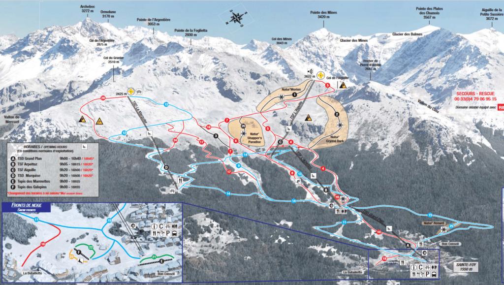 Saint Foy la Tarentaise - Plan des pistes de ski