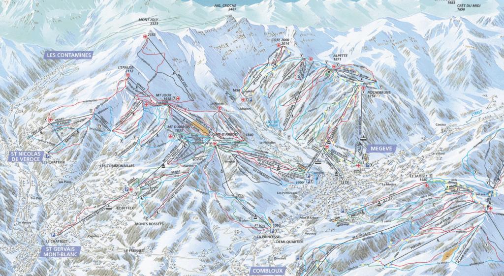 Saint Gervais plan des pistes de ski