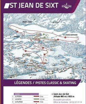 Saint Jean de Sixt - Plan des pistes de ski de fond