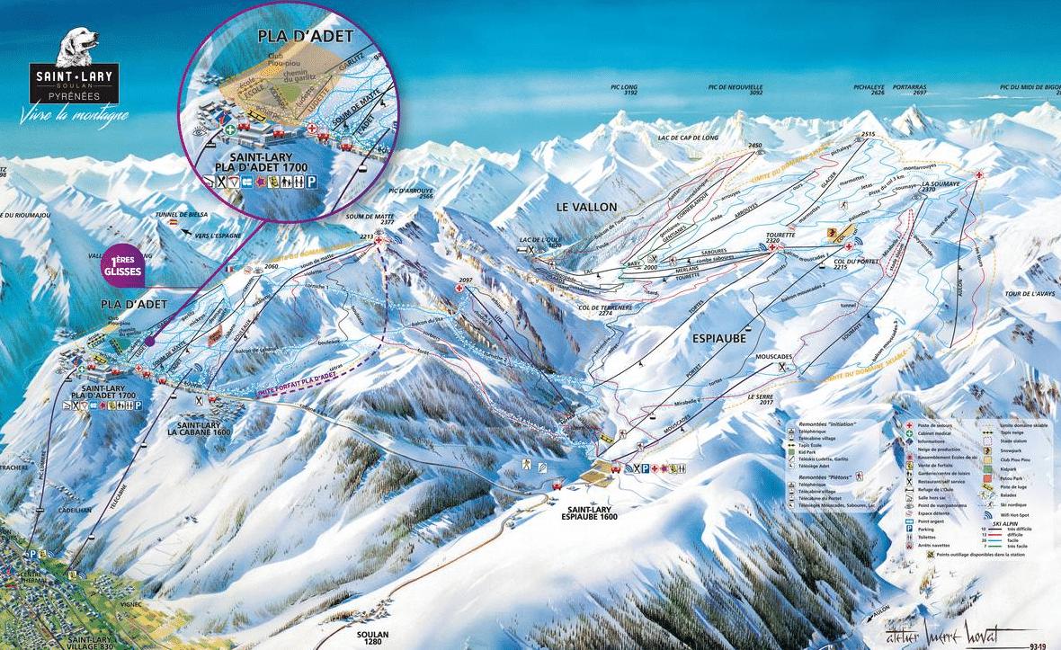 Saint Lary - Plan des pistes de ski