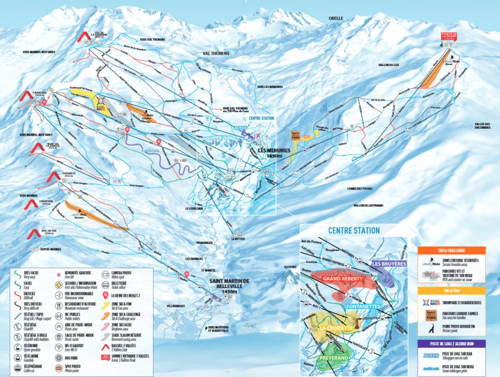 Saint Martin de BelleVille - Plan des pistes de ski