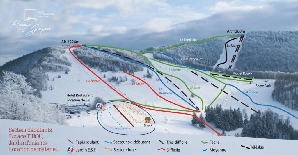 Saint Maurice sur Moselle - Plan des pistes de ski