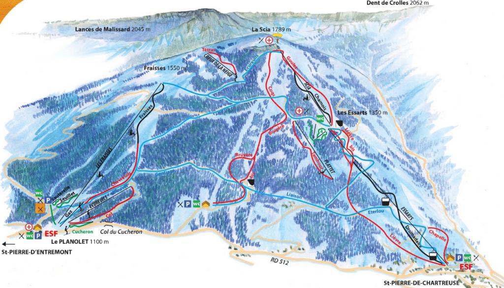Saint Pierre de Chartreuse - Planolet - Plan des pistes de ski