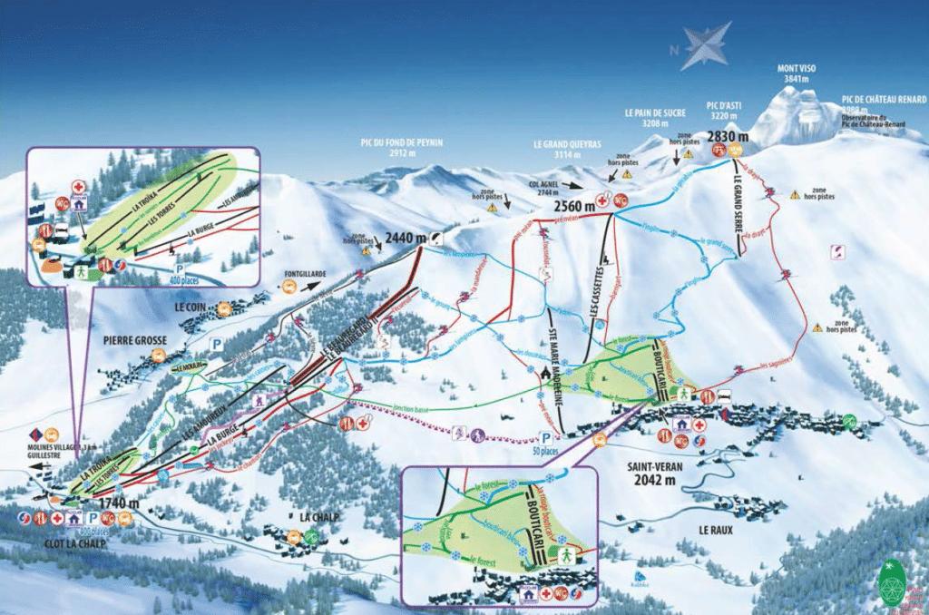 Saint Veran - Plan des pistes de ski