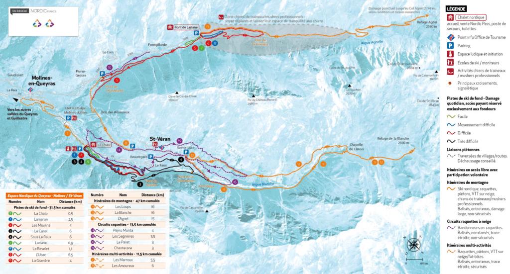 Saint Veran - Plan du domaine nordique (ski de fond)