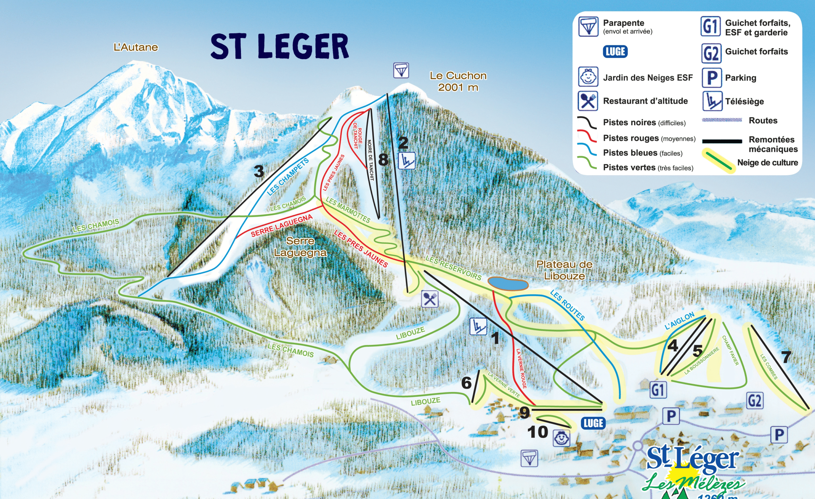 Saint leger les melezes - plan des pistes de ski