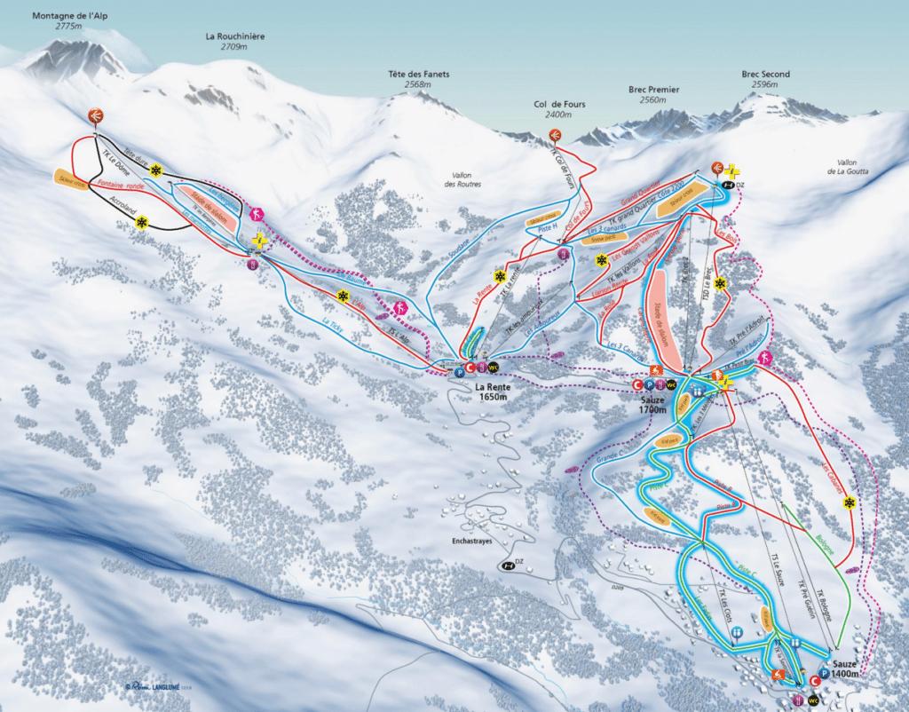 Super Sauze La Rente - Plan des pistes de ski