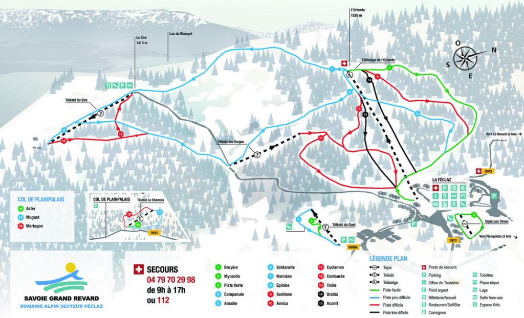 Savoie Grand Revard - Plan des pistes de ski du secteur feclaz