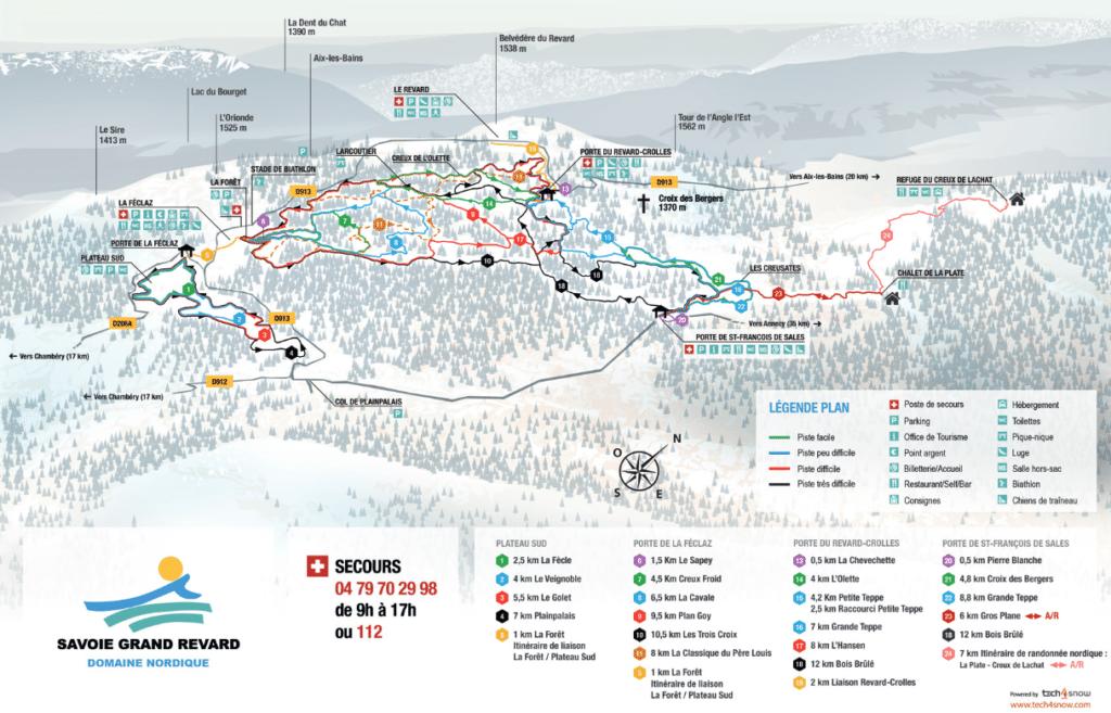 Savoie Grand Revard - Plan du domaine nordique (ski de fond)
