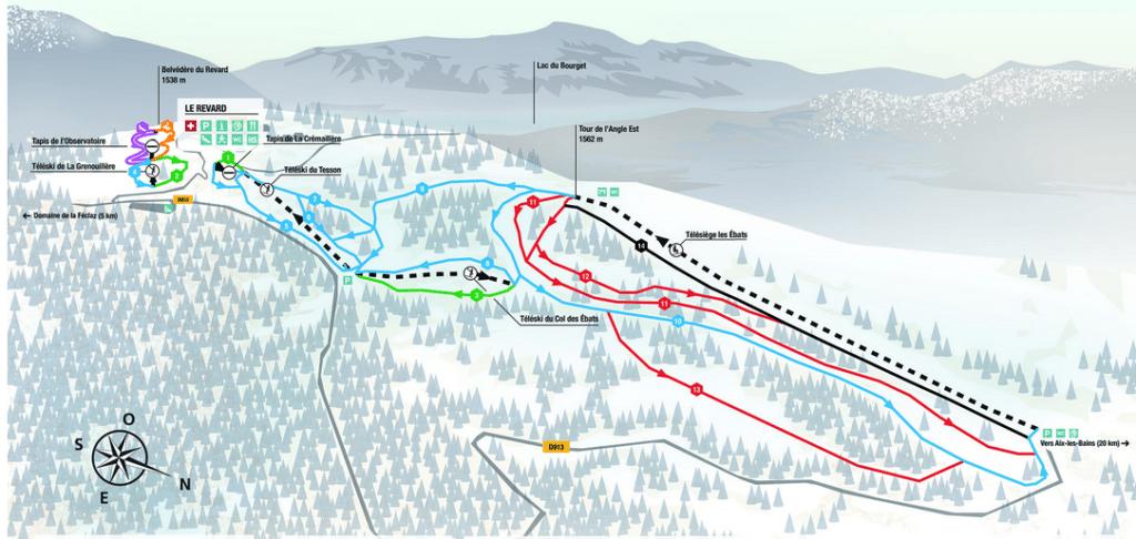 Savoie Grand Revard - Plan du domaine skiable du secteur feclaz
