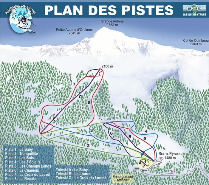 Serre Eyraud - Plan des pistes de ski