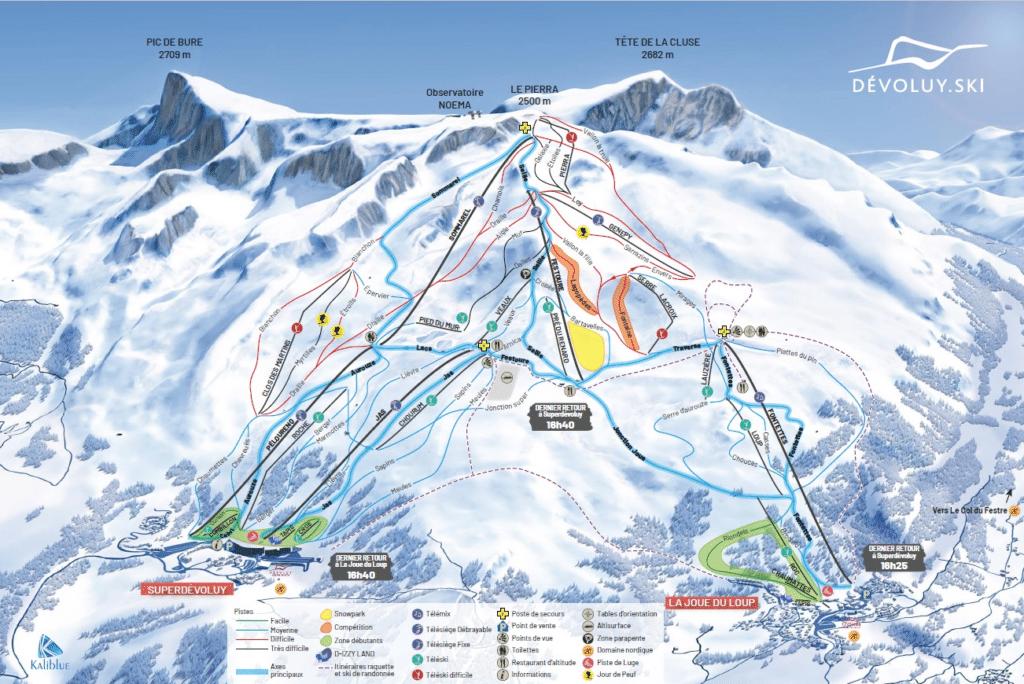 Superdevoluy - Joue du Loup - Plan des pistes de ski
